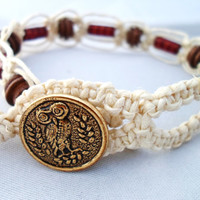 Red and Brown Macrame Hemp Bracelet with Owl Button