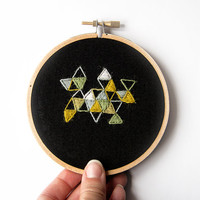 Geometric Abstract Embroidery, 4 Inch Hoop Art, Crewel Stitches, OOAK, Hand Stitched, Quirky Triangles, Black