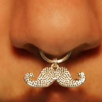 Thick Septum Cuff with Mustache - silver (fake nose ring) No Piercing Required