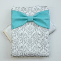 MacBook Pro / Air Case, Laptop Sleeve - Gray and White Damask with Light Turquoise Bow - Double Padded - Sized to Fit Any Brand
