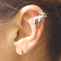 Silver Moose Cartilage Earring Helix Piercing