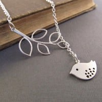 Silver Bird and Leaf Branch Tranquility Necklace