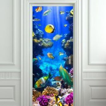 "Door Wall Fridge STICKER Underwater, Ocean, Sea mural decole film self-adhesive poster 30x79""(77x200 cm)"
