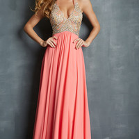 Long V-Neck Halter Gown