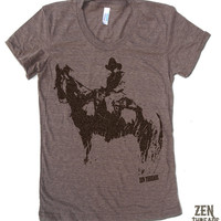 Womens COWBOY and HORSE T Shirt american apparel S M L XL (16 Colors Available)