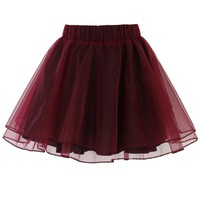 Organza Tulle Skirt in Wine Red S/M