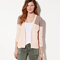 AE COLORBLOCK REVERSE RIBBED CARDIGAN