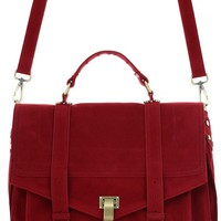 Raspberry Faux Suede Satchel