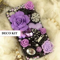 UFINDINGS - DIY 3D Bling Cell Phone Case Deco Kit : Purple Roses, Heart, Bow and Pearls