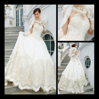 Source Luxury expensive catheral royal halter lace appliques ball gown satin wedding gowns 2013 tb231 on m.alibaba.com