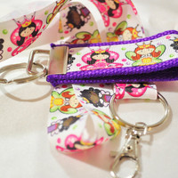 Princess ribbon keychain and lanyard set in pink and purple