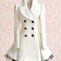 L.V.Y Women Trench Coat Jacket Parka Slim Fit Peacoat M White