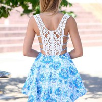 Blue Printed Sleeveless Dress with Crochet Lace Back
