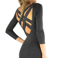 Criss Cross Back Heathered Bodycon Dress - Charcoal Gray