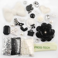 Frog-tech DIY for cellphone ,for HTC Iphone 4/4s Iphone 5g/ I9300 S3/ Samsung Note 2 note 3 HTC 3D Bling white pearl bow bowknot black rose lady shoes diamond love style Cell Phone Case Resin crystal diamond Flat back Kawaii Cabochons Deco Kit / Set ,cellp