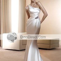 One Shoulder Sweep Mermaid Bridal Gown Wedding Dress, Europe - DinoDirect.com