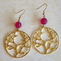 Gold Tree with Purple Jade earrings by sparklesfall on Etsy