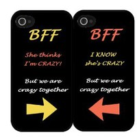 """BFF Quote """"She's Crazy"""" Arrow Best Friends Set i5 iPhone 5 Hard Case"""