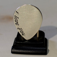 I love you teardrop sterling silver guitar pick