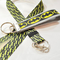 Batman ribbon keychain and lanyard set