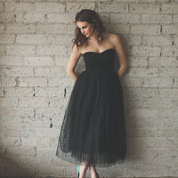 Tea Length Strapless Sweetheart Black Tulle Dress - Audrey by Ouma