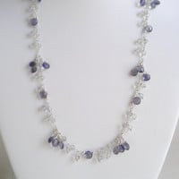 20 inch Sugar Plum. Iolite and Green Amethyst in Sterling Silver. Dangling gemstone drop pendant layering chain necklace