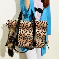 New Fashion Ornaments Leopard Printed Fox Tail Handbag&Shoulder Bag