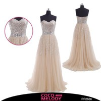 Cocomelody A Line Sweetheart Long Beaded Sequins Evening Dress Pr2666