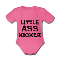 Little Ass Kicker The Walking Dead Quotes Baby Short Sleeves Cotton Bodysuit - 3-6 months, 6-9 months, 9-12 months,12-18 months,18-24 months
