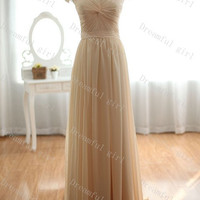 Cap sleeves Floor-length with pearls sleeves prom dress ,evening dress