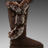 Australia Luxe Collective Nordic Angel X-Tall Boot with Rabbit Fur Trim in Beva