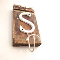Letter S Shabby Chic Hook on Vintage Trim