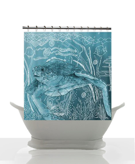 Ocean Decor For Bathroom: Artistic Shower Curtain