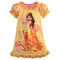 Disney Belle Ruffled Nightshirt Nightgown Beauty and The Beast XS 4 4T