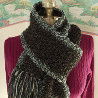 Handmade Crochet Scarf, Black, Gray, Charcoal, Forest Green, Silver, Ribbon Accents, Thick, Snuggly, Ribbon Fringe