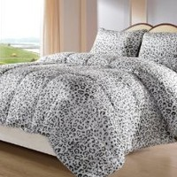 SNOW LEOPARD 3 Piece Reversible Down Alternative Comforter Set, with Anti-Microbial finish, Black, White, Grey Bed Cover FULL, QUEEN Size Bedding