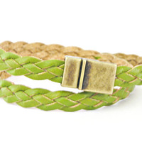 Double wrapped green flat braided leather bracelet with magnetic clasp