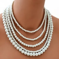 Bridal Necklace Pearl Necklace Wedding Necklace White