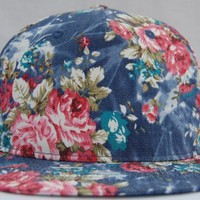 Floral 5 Panel All Over Print Denim Vintage Snapback Cap Hat New Blue Short Brim