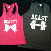 Free Shipping for US Beauty And The Beast Couples Shirts Pink and Charcoal Gray Different Version