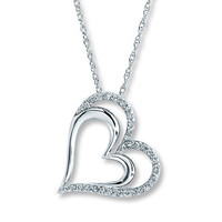 Diamond Heart Necklace 1/4 ct tw Round-cut Sterling Silver