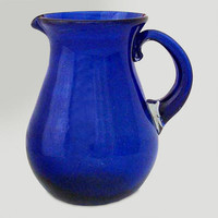 Novica Cobalt Charm Glass Pitcher