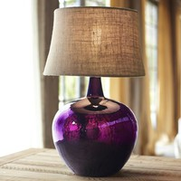 CLIFT GLASS TABLE LAMP BASE - EGGPLANT