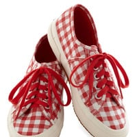 Picnic for One Sneaker in Red | Mod Retro Vintage Flats | ModCloth.com