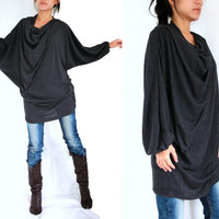Boho Oversized Women Black Blouse / Black Tunic - Oversized Tunic / small medium large dolman sleeve top mini dress