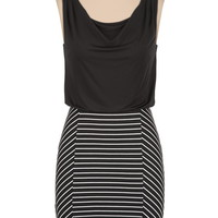 striped skirt draped tank dress