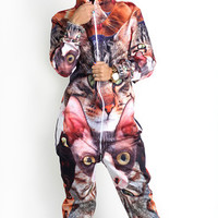 Cat collage belovesie hooded jumpsuit