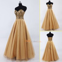 Gold A Line Sequins Sweetheart Tulle Floor Length Long Prom Party Women Dresses