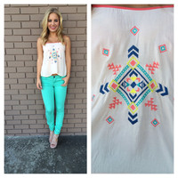 Cream Tribal Tank Top