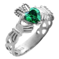 10k White Gold Trinity Band Solitaire Claddagh Ring with Emerald Green CZ Heart